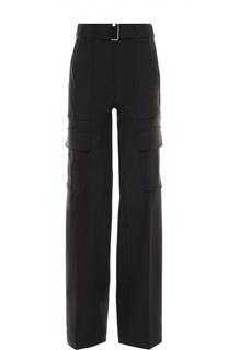 Широкие шерстяные брюки с накладными карманами и поясом Moncler