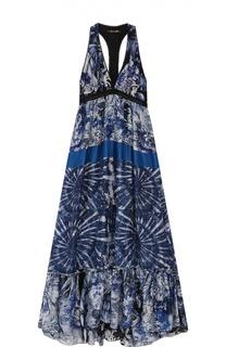 Шелковое платье-макси с V-образным вырезом и открытой спиной Roberto Cavalli