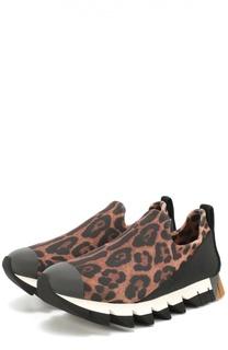 Комбинированные кроссовки Ibiza с принтом под леопарда Dolce & Gabbana