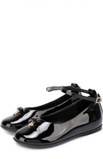 Лаковые туфли с бантом и подвеской Dolce & Gabbana