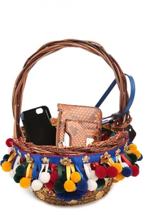 4e0d859afe83 Плетеная сумка-корзинка Agnese с аксессуарами из кожи питона и игуаны Dolce  & Gabbana