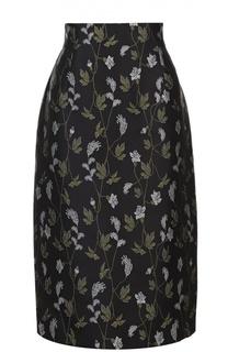 Юбка-миди с цветочной вышивкой Escada