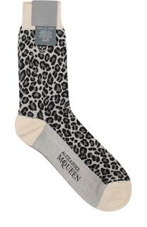 Хлопковые носки с анималистичным узором Alexander McQueen
