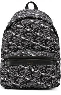 Текстильный рюкзак с принтом и отделкой из натуральной кожи Saint Laurent