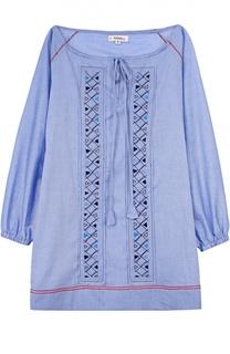 Хлопковое мини-платье с вырезом-лодочка LemLem