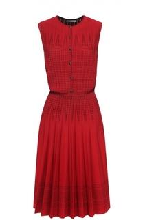 Приталенное платье без рукавов с юбкой в складку Alexander McQueen
