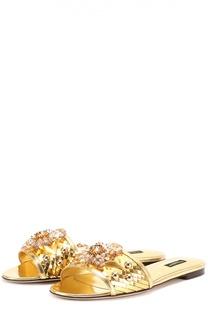 Шлепанцы Bianca из металлизированной кожи с кристаллами Dolce & Gabbana