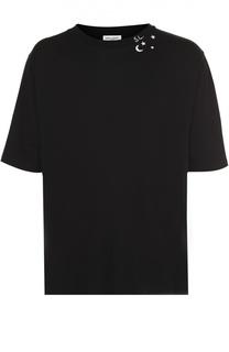 Хлопковая футболка свободного кроя с принтом Saint Laurent