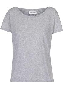 Хлопковая футболка прямого кроя с накладным карманом Saint Laurent