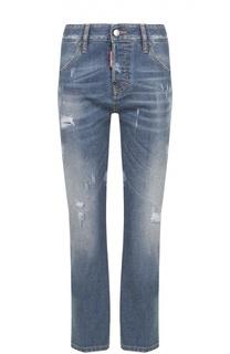 Укороченные джинсы с потертостями и декоративной отделкой Dsquared2
