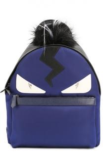 Рюкзак с аппликацией Bag Bugs и меховой отделкой Fendi