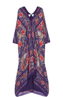 Шелковое платье-макси с укороченным рукавом и контрастным принтом Roberto Cavalli