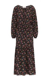 Шелковое приталенное платье-макси с цветочным принтом Saint Laurent