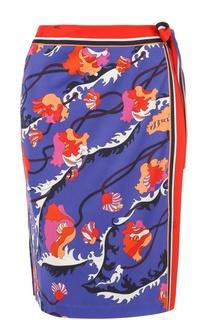 Мини-юбка с запахом и контрастным принтом Emilio Pucci