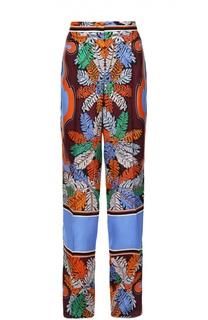 Шелковые брюки прямого кроя с контрастным принтом Emilio Pucci
