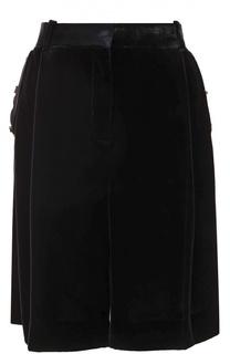 Бархатные мини-шорты с контрастной отделкой Givenchy