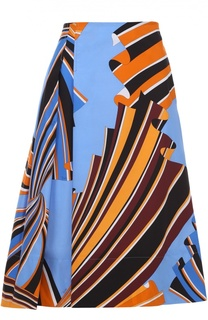 Юбка-миди со складками и контрастным принтом Emilio Pucci
