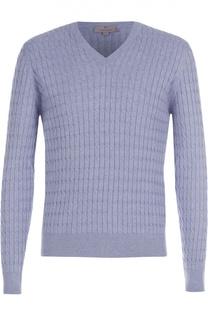 Пуловер фактурной вязки из смеси хлопка и шелка Canali
