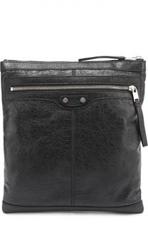 Кожаная сумка-планшет с внешним карманом на молнии Balenciaga