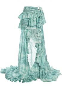 Шелковая юбка с воланами и длинным подолом Roberto Cavalli