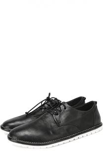 Кожаные ботинки с круглым мысом на контрастной подошве Marsell