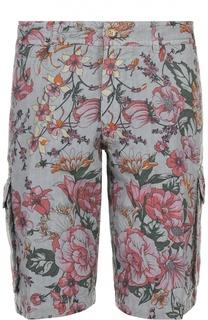 Льняные шорты с принтом накладными карманами 120% Lino