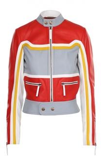 Укороченная кожаная куртка воротником-стойкой Roberto Cavalli