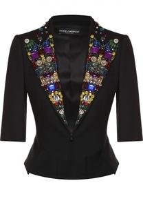 Приталенный жакет с укороченным рукавом и декорированными лацканами Dolce & Gabbana