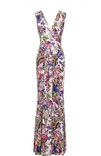 Приталенное платье-макси с открытой спиной и ярким принтом Roberto Cavalli