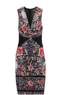 Платье-футляр с цветочным принтом и V-образным вырезом Roberto Cavalli