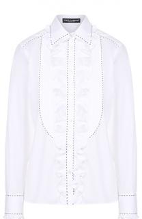 Приталенная блуза с оборкой и контрастной прострочкой Dolce & Gabbana
