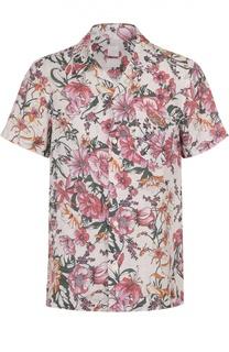 Льняная рубашка с цветочным принтом 120% Lino