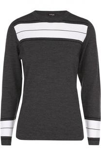 Шерстяной пуловер с круглым вырезом и контрастной отделкой Kiton