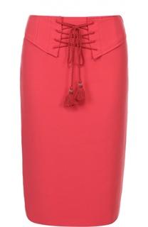 Юбка-карандаш с разрезом и декоративной шнуровкой Roberto Cavalli