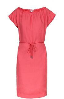 Льняное платье-миди с вырезом-лодочка и поясом Escada Sport