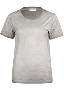 Хлопковая приталенная футболка с круглым вырезом Saint Laurent