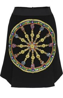 Мини-юбка А-силуэта с контрастной отделкой Dolce & Gabbana