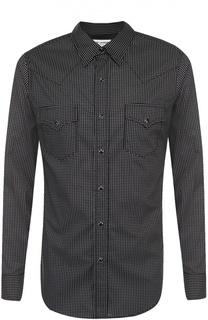 Хлопковая рубашка на кнопках с принтом Saint Laurent