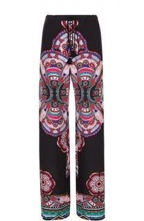Шелковые брюки с эластичным поясом и ярким принтом Roberto Cavalli