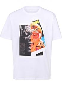 Хлопковая футболка с контрастным принтом Neil Barrett
