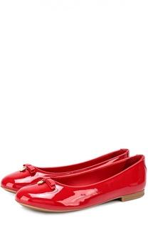 Лаковые балетки с бантом и подвеской Dolce & Gabbana