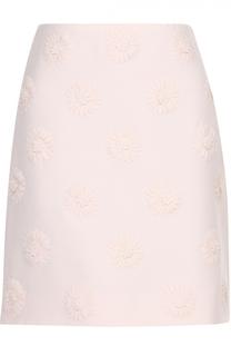 Мини-юбка с фактурной цветочной отделкой Valentino