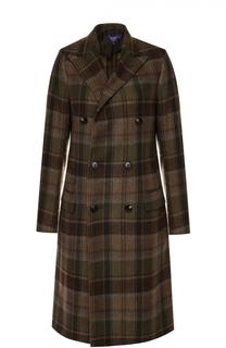 Двубортное кашемировое пальто в клетку Ralph Lauren