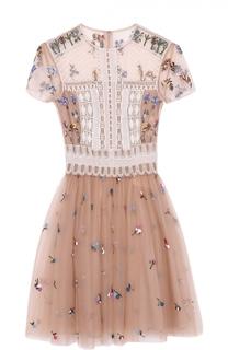 Приталенное мини-платье с кружевной отделкой Valentino