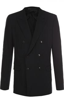 Шерстяной двубортный пиджак с эффектом крэш Valentino