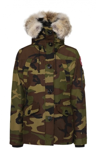 Утепленная куртка с капюшоном и меховой отделкой Canada Goose