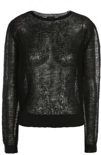 Льняной полупрозрачный пуловер с круглым вырезом Rick Owens