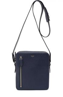 Сумка-планшет из зерненой кожи с внешним карманом на молнии Bertoni