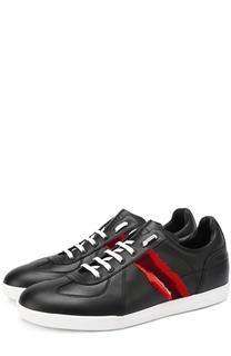 Кожаные кеды на шнуровке с контрастной отделкой Dior