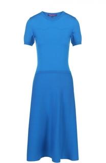 Приталенное платье-миди с укороченным рукавом Ralph Lauren